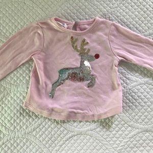 MudPie sequin Rudolph shirt 12-18 months